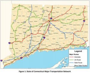 Major Cities and Roadways in Connecticut
