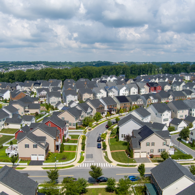 aerial view of the greenway village subdivision in WAR2HQ4