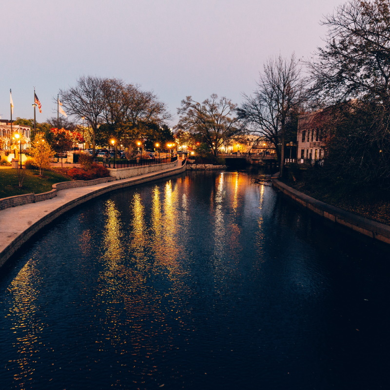 city river at sunset H8YS3LB
