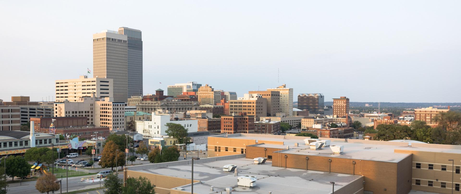 downtown city skyline omaha nebraska midwest urban PME93DL