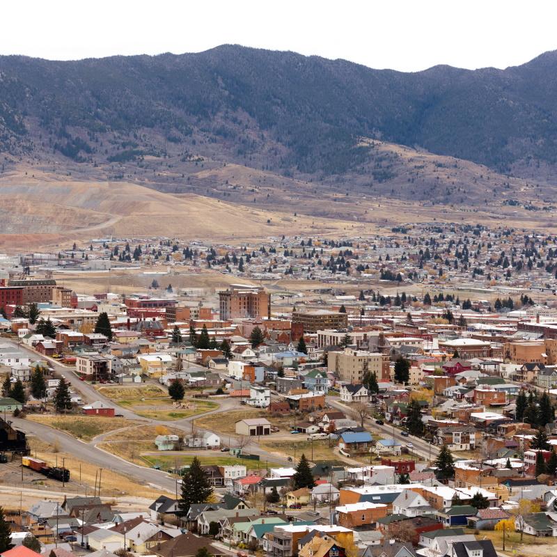 high angle overlook butte montana downtown usa uni PGMD6RG