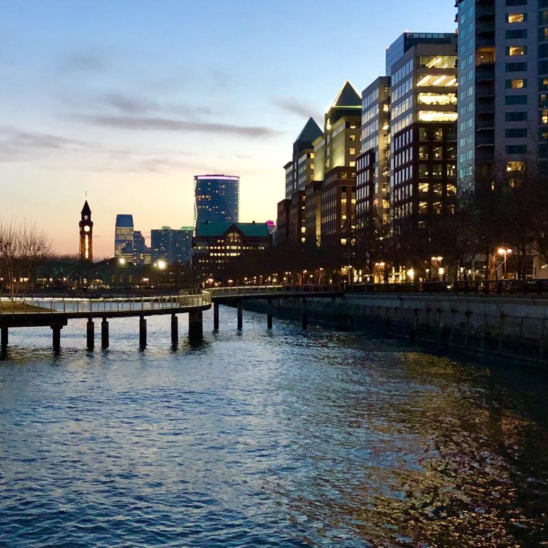hoboken new jersey evening cityscape 346H2XA