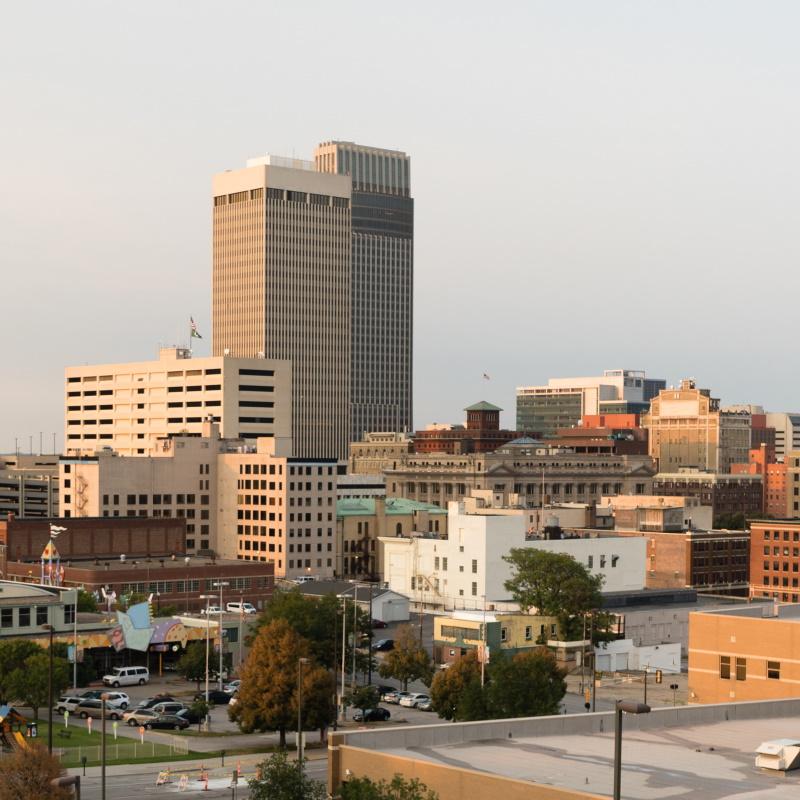 panoramic view downtown omaha nebraska city skylin PTBXHQK