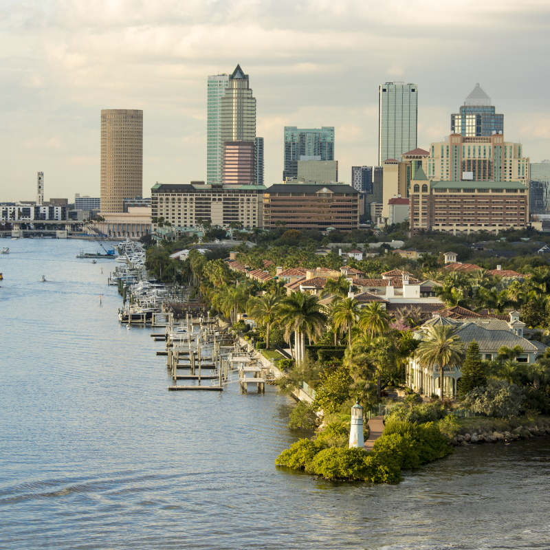 view of downtown tampa florida from the harbor 6PVZQ8T