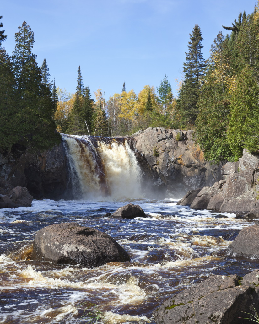 waterfall on the north shore of minnesota in the f LUXXFRS